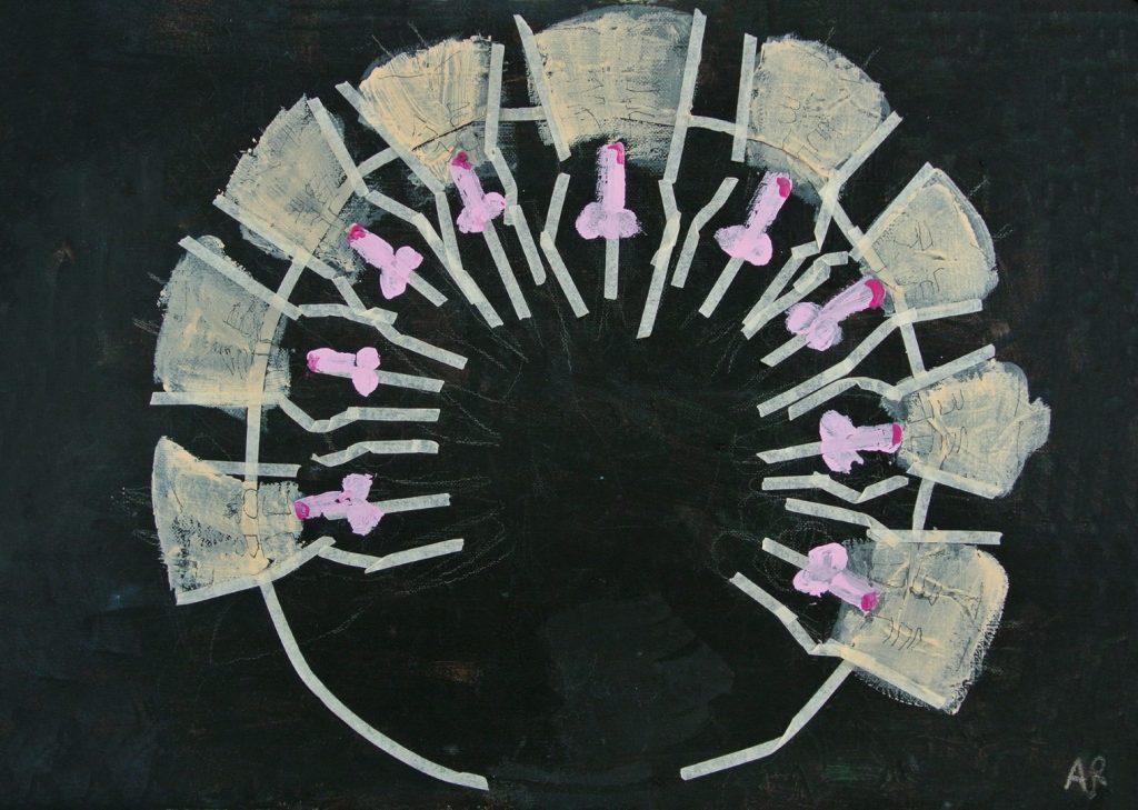 The circle of Erection, acrylic on canvas, 50×40 cm