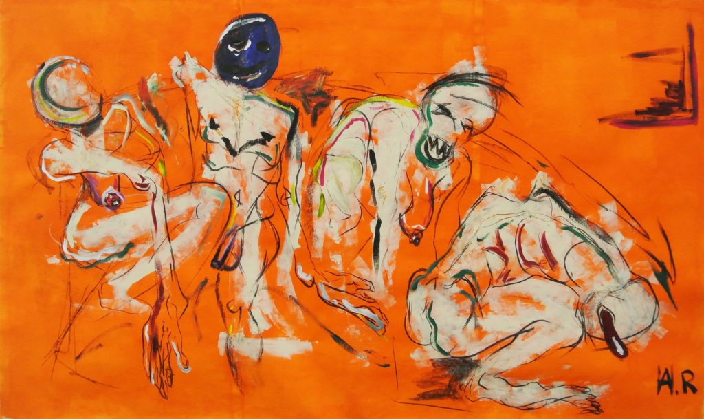 What would you rather be, smart or funny?, acrylic and charcoal on paper, 300x180cm