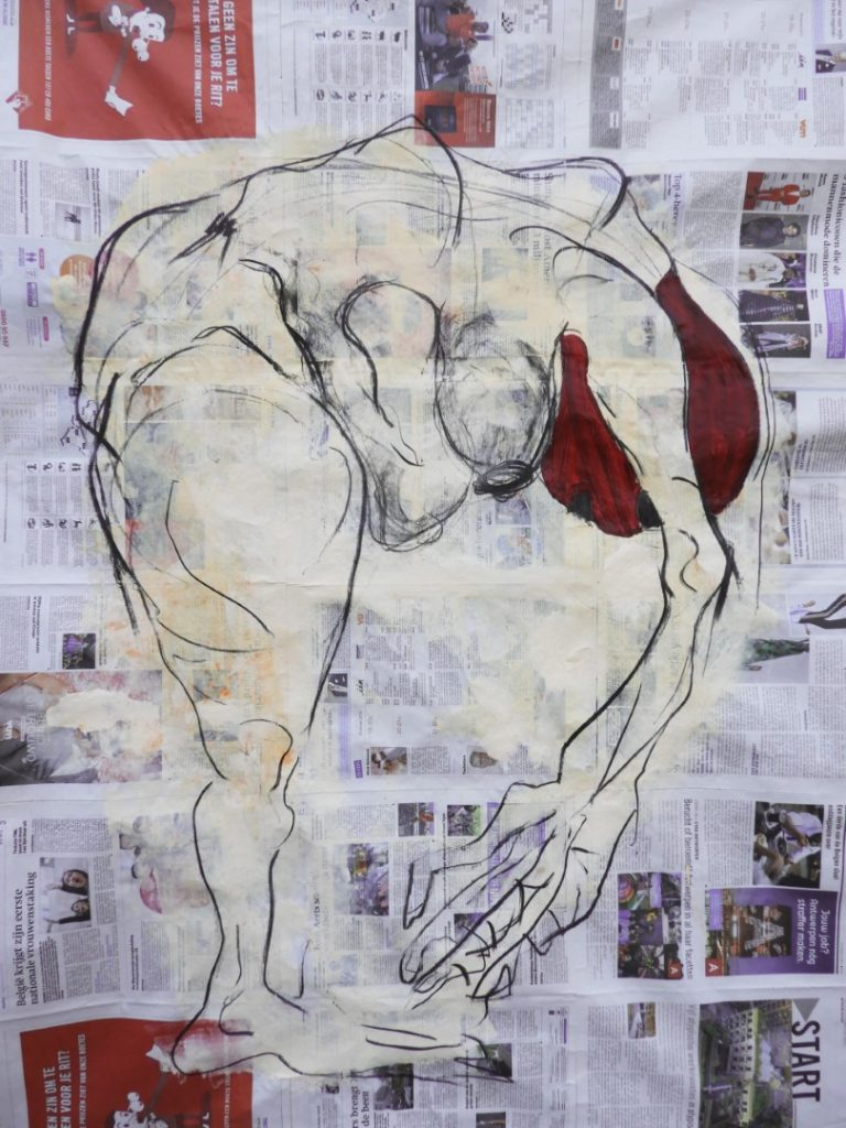 Acrylic and charcoal on newspaper, 107,5x155cm