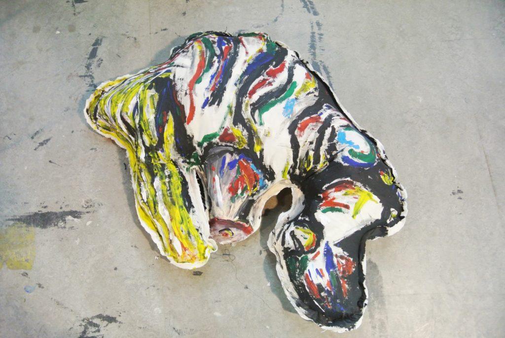Blown Up Canvas, acrylic on textile, 100x87cm