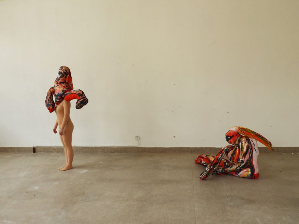 A BEING, performance, acrylic on textile, left one 57x110cm, model Jessica Krepinsky