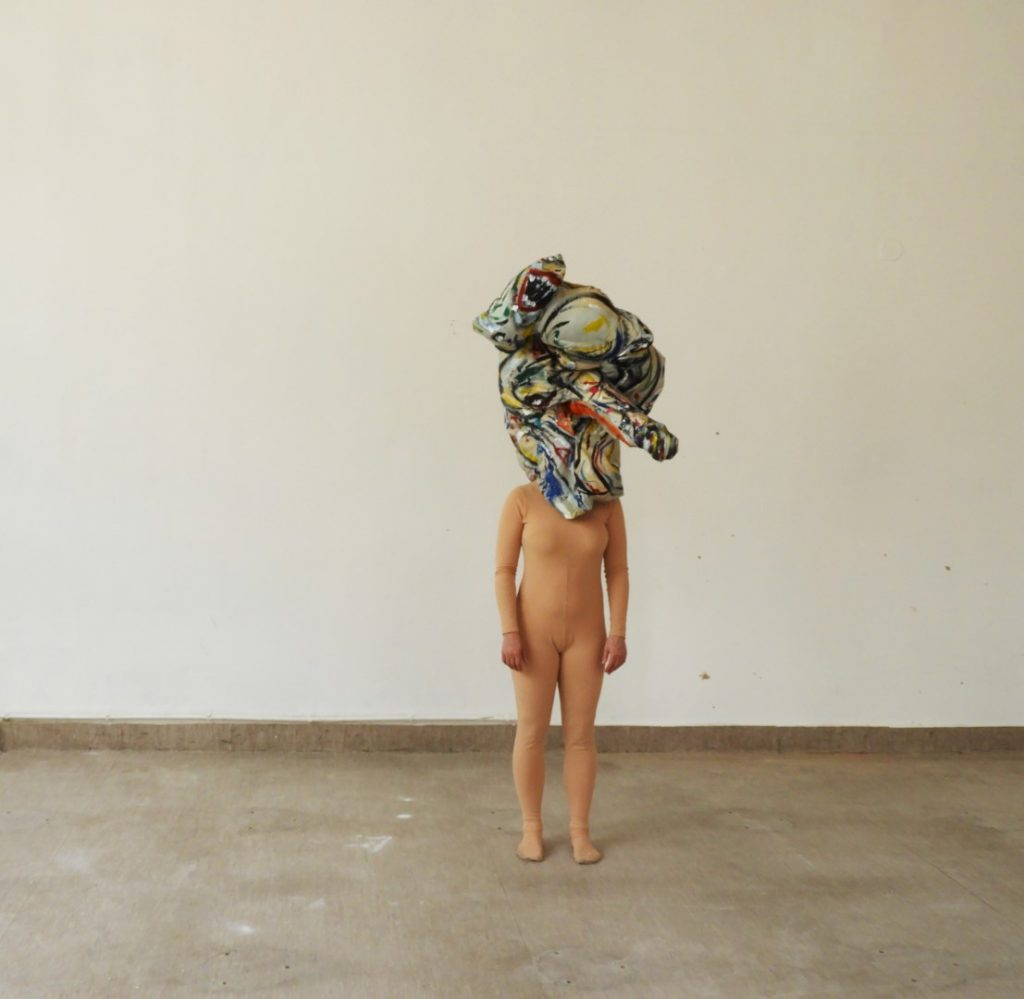A BEING, performance, acrylic on textile, model Jessica Krepinsky