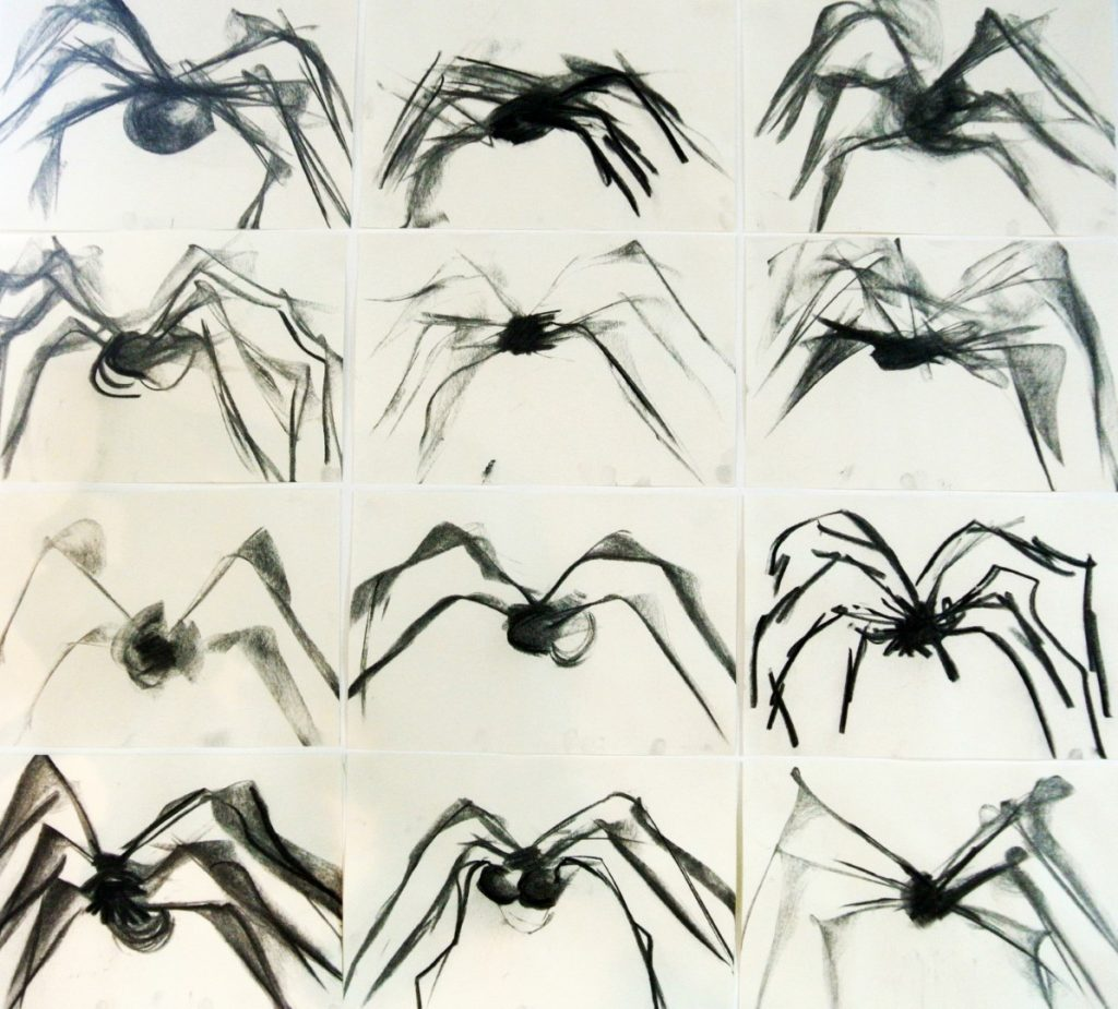 Spiders, charcoal on paper, 12xA3