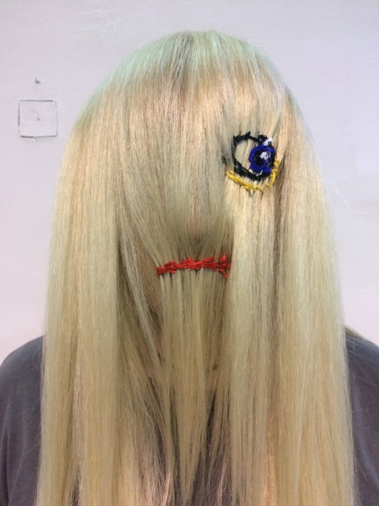 HUGO MASK, embroidery on tights, hair extensions